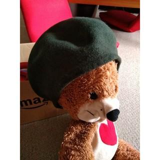 ベレー帽 深緑(ハンチング/ベレー帽)