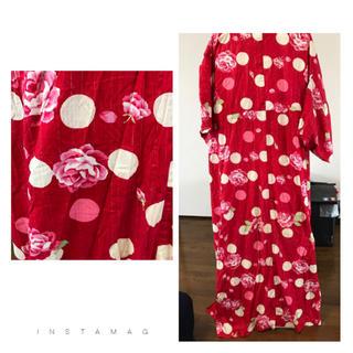 赤×ドット×花柄浴衣♡帯なし♥︎2000(浴衣帯)