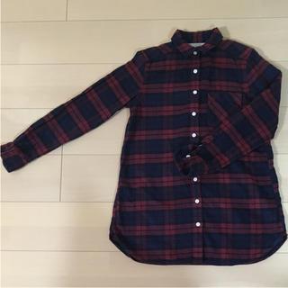MUJI (無印良品) - 無印良品 赤系 チェックシャツ シャツワンピース