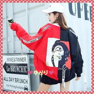 【最安値♥】ピエロジャケット MA-1 韓国 ストリート系 黒&赤(ナイロンジャケット)