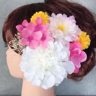ホワイト×ピンク×イエロー♡可愛い髪飾り♡夏祭り、浴衣、着物*(ヘアピン)