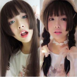 ☆彡ロリカワ☆彡 姫カット ロングストレート フルウィッグ ネット付き 深茶(ロングストレート)
