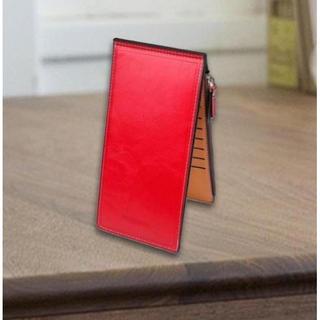 ☆機能◎☆ レザー 二つ折 長財布 カードホルダー 16 ポケット レッド(長財布)