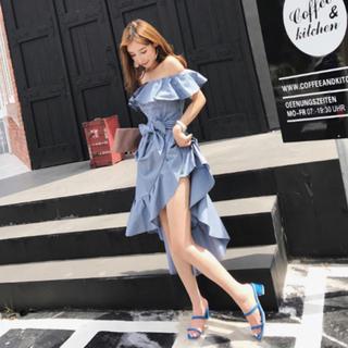 ブルー フリル オフショル リボン 上品 ワンピース ドレス キャバドレス 結婚(ミニドレス)