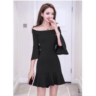黒 オフショル フリル ドレス ワンピース キャバドレス (ミニドレス)