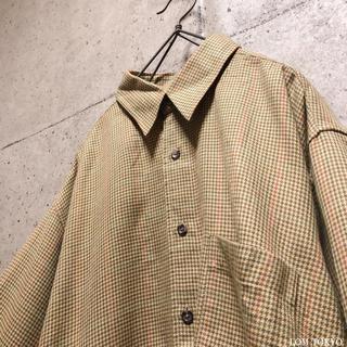 [used]brown beige wool mix plaid shirt.(シャツ)