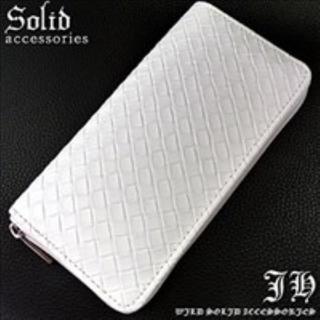 ★キレイめお兄系の定番★ ホワイト 長財布 ラウンドファスナー 白 メンズ(長財布)