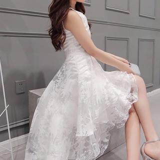白 フィッシュテール ティアード フレア フリル ワンピ ドレス 結婚式 ☆(ミニドレス)