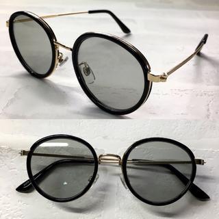 レトロ ボストン 人気 ブラックゴールド/ライトグレー(サングラス/メガネ)