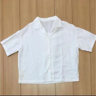 ジーユー(GU)のGU/リネンブレンドオープンカラーシャツ(シャツ/ブラウス(半袖/袖なし))