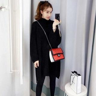 【SALE】 ザックリ系 長袖ハイネック不規則裾ニットセーター ブラック(ニット/セーター)
