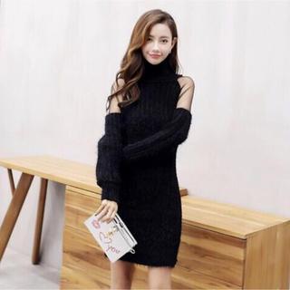 ★ハイネック オープンショルダー ワンピース ミニ ドレス 黒(ニット/セーター)