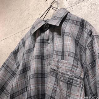 [used]wool100% gray plaid shirt.(シャツ)