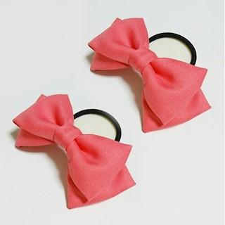 濃いピンク色リボン ヘアゴム 2個 髪飾り コスプレ ハンドメイド ハロウィン(ヘアゴム/シュシュ)