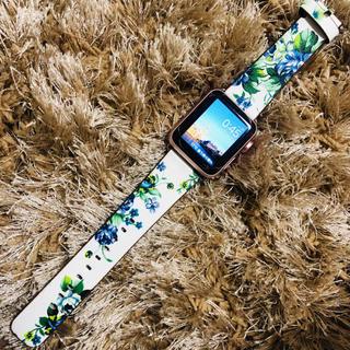 アップルウォッチ(Apple Watch)のApple Watch 花柄バンド ブルー(腕時計)