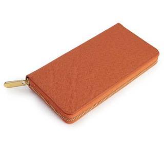 【新品】 レディース 長財布 ラウンドファスナー ウォレット オレンジ(財布)