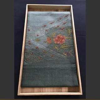 青グレー緑グレー蘇州・相良刺繍の花々 お太鼓柄袋帯(帯)