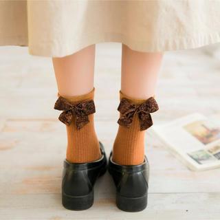 レディース靴下春秋冬 リボン付き 足首ソックス かわいい 4足セットLS181(ソックス)