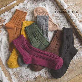 レディース靴下 リブ ケーブル編み 無地ソックスシンプル秋冬7色選べるLS184(ソックス)