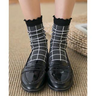 レディース靴下 ゴム口メロウクロスチェックソックスフリル 4足セットLS183(ソックス)