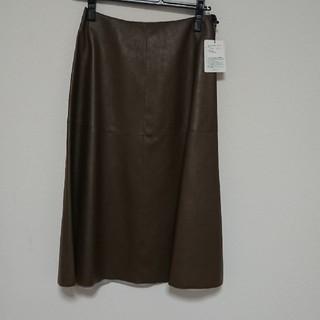 ロペ(ROPE)のROPE  フェイクレザーフレアースカート(ひざ丈スカート)