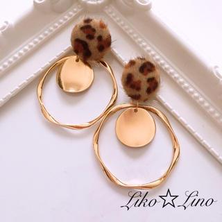 No.102 ヒョウ柄 ファーピアス × ビッグフープ Liko☆Lino