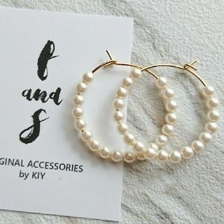 ▦№199再販☞petite pearl上品フープ▦ピアス