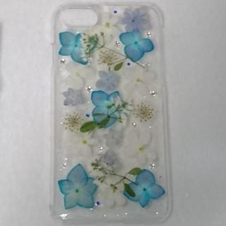 iPhone7/8対応 スマホケース 青×白 バーベナ(iPhoneケース)