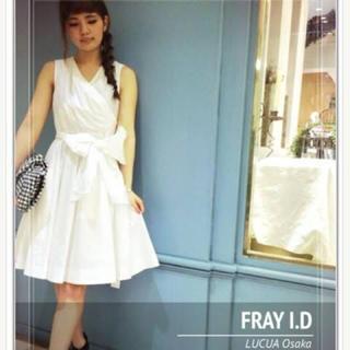フレイアイディー(FRAY I.D)のFray I . D🧡カシュクールリボンワンピース 膝下 コットン リボン(ひざ丈ワンピース)