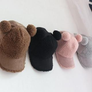 ブラック♡ボアキャップ 韓国子供 耳つき 帽子