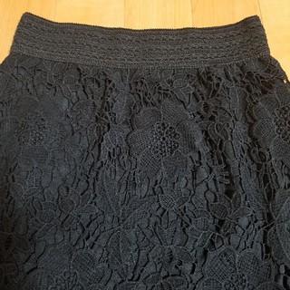 アンティカ(antiqua)のブラック花柄レーススカート(ひざ丈スカート)
