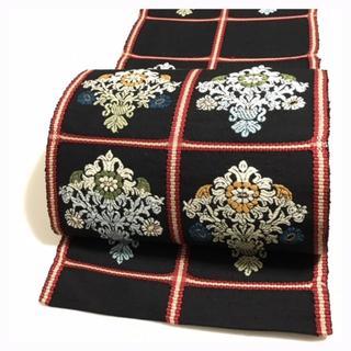 極上 逸品 手機織り 八寸名古屋帯 正絹 織り 花模様 中古品(帯)