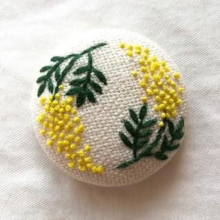 ミモザ2輪 刺繍ブローチ/刺繍ヘアゴム