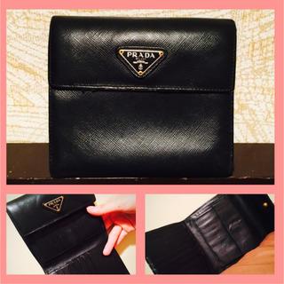 プラダ(PRADA)のPRADA(プラダ)折り財布 サフィアーノ 中古 美品 本物 鑑定済み(折り財布)
