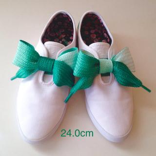 アディダス(adidas)のアディダス*adidas リレースロー リボン スニーカー スリッポン 白 緑(スニーカー)