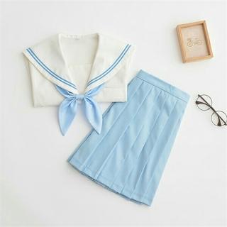 爽やか ピンク 学生服♡リボン+スカート+トップス+選べる靴下(その他)