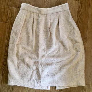 ロペ(ROPE)のロペ9号ツイードオフホワイトベージュスカートMサイズ(ミニスカート)