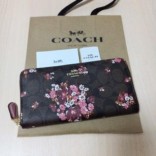 コーチ(COACH)の新品未使用 最新モデル COACH 長財布 人気 フローラル ブラウン(財布)