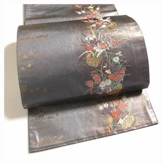 上質 正絹 紫銅箔 花刺繍 六通柄 袋帯 中古品 (帯)