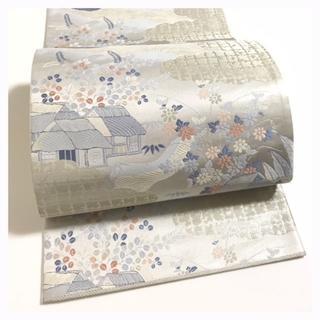 美品 極上 正絹 袋帯 シルバーグレー 茶や辻 六通柄 中古品(帯)