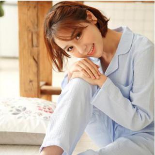Mサイズ ブルー パジャマ  ルームウェア 長袖 綿100 二重 ガーゼ(パジャマ)