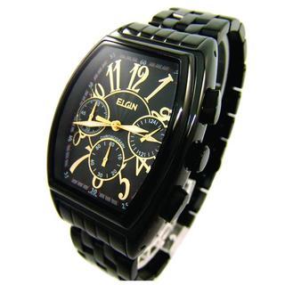 エルジン(ELGIN)のエルジン 腕時計 メンズ ELGIN クロノグラフ ブラック ゴールド 黒 金(腕時計(アナログ))