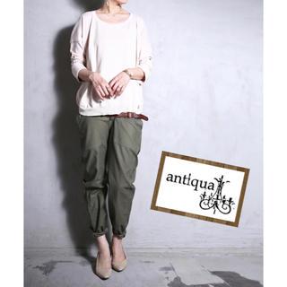 アンティカ(antiqua)のantiqua/袖折り返しデザイン綿ニットトップス (ニット/セーター)