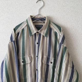 アウトドアプロダクツ(OUTDOOR PRODUCTS)の古着 OUTDOOOR ストライプシャツ マルチカラー 長袖 メンズ (シャツ)