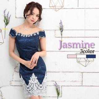 ジャスミン(ジャスミン)の【Jasmine】ジャガードオフショルダー、裾レース付きタイトミニドレス(ナイトドレス)