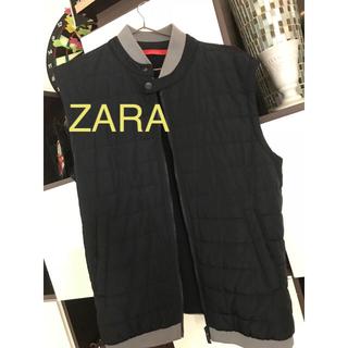 ザラ(ZARA)の美品ZARA メンズ中綿ダウンジャケットネイビーXL(ダウンジャケット)
