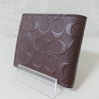 コーチ(COACH)のCOACH コーチ 二つ折り 財布 クロスグレイン ブラウン(折り財布)