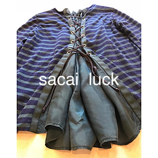 サカイラック(sacai luck)のsacai  luck バックレースアップボーダーフレアーカットソーTシャツ(カットソー(長袖/七分))