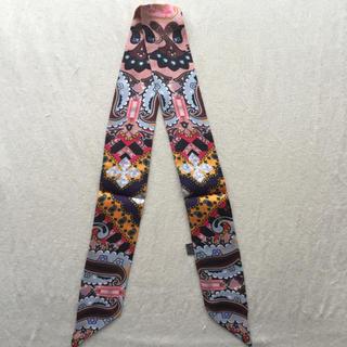 【大人気】シルク100% ツイリー リボンスカーフ フラワー(バンダナ/スカーフ)