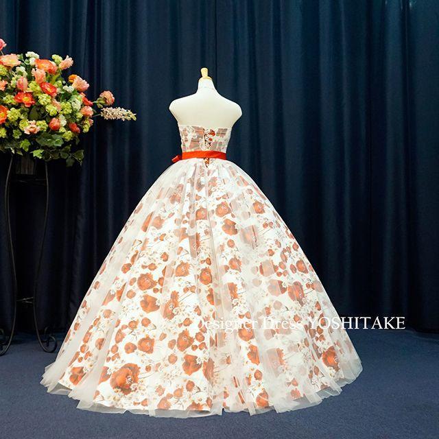 ウエディングドレス(無料パニエ付) 白ベース花柄&スノースタイル 披露宴/二次会 レディースのフォーマル/ドレス(ウェディングドレス)の商品写真